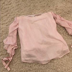 Club Monaco Pink and White Off the Shoulder Top